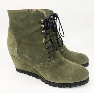 Anyi Lu Olive Suede Fiona Lace Up Wedge Booties